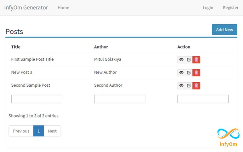 Multi Column Search box in Datatables with InfyOm Laravel Generator