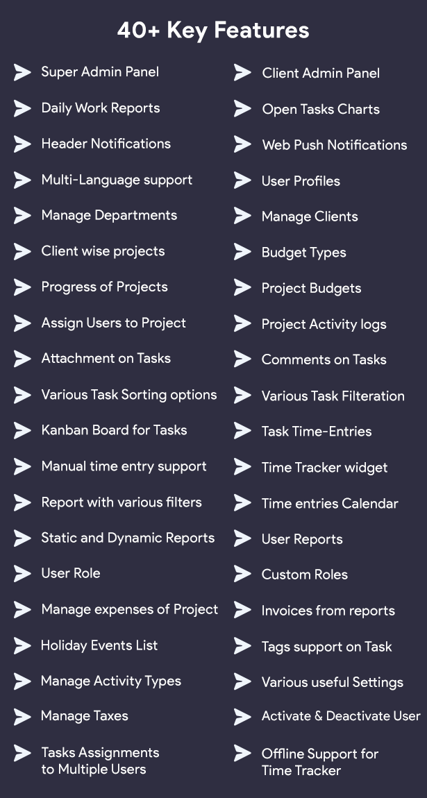 InfyProjects Feature List